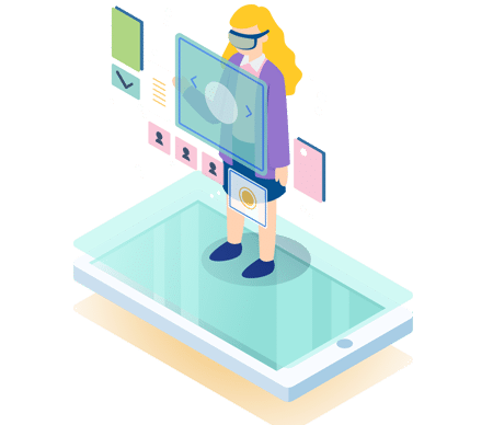 Web Development woman on mobile decorative only